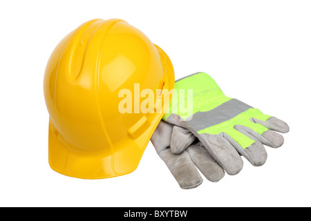 Construction Hard Hat and work gloves on white background - Stock Photo