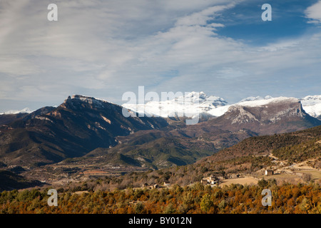 View of Las Tres Sorores peaks, National Park of Ordesa and Monte Perdido, Huesca, Spain - Stock Photo