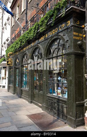 Berry Bros and Rudd wine shop front on St James Street SW1 near Piccadilly in London - Stock Photo