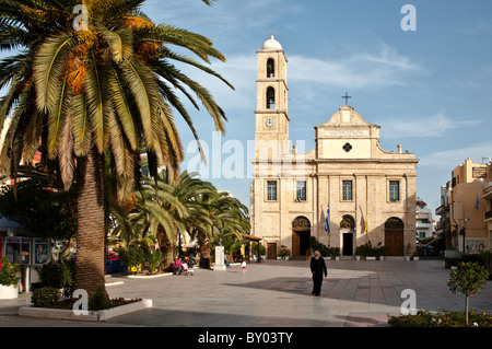 The Greek Orthodox cathedral in Hania on the island of Crete, Greece. - Stock Photo