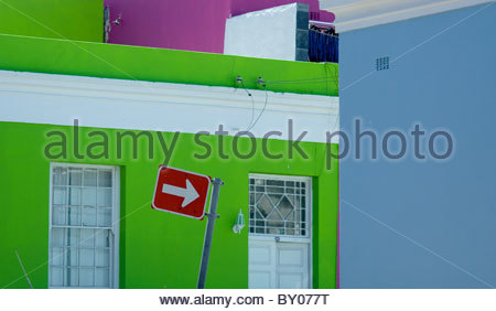 Coloured houses in Malay BO KAAP district Cape Town South Africa - Stock Photo