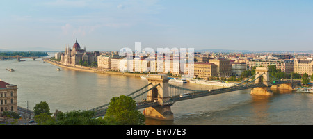 Budapest city panorama of Hungarian Parliament and 'chain bridge Szechenyi Lanchid over the river Danube Budapest, - Stock Photo
