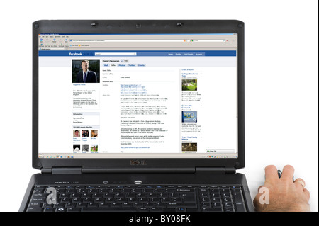 Facebook page of the British Prime Minister David Cameron on a Laptop Computer, UK Stock Photo