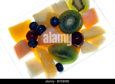 Fresh tropical fruit salad, London - Stock Photo