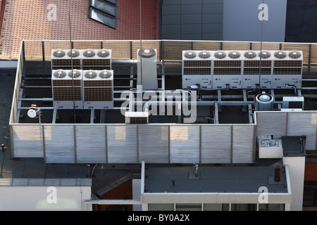 Conditioning and ventilation system on top of the building. - Stock Photo