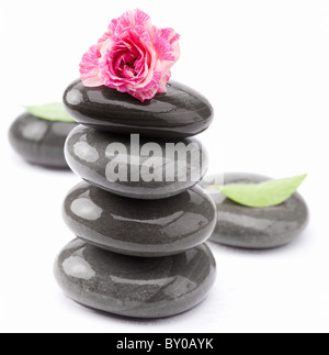 Spa stones with rose and leaves on a white background. - Stock Photo