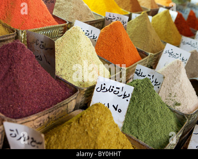 Colourful spices for sale in Damascus souk, Syria - Stock Photo