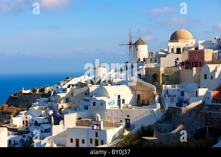 Oia ( Ia ) Santorini - Windmills and view of town , Greek Cyclades islands - Photos, pictures and images - Stock Photo