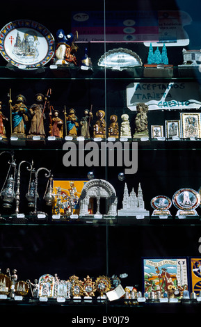 Galicia Spain Santiago De Compostela Figurines Of Saint James The Greater And Other Religious Artefacts In Shop - Stock Photo