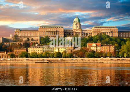 Buda Castle Hill with the Danube, Budapest, Hungary - Stock Photo