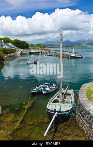 Panorama of Roundstone harbour and the Twelve Bens mountain range, Connemara, County Galway, Ireland - Stock Photo