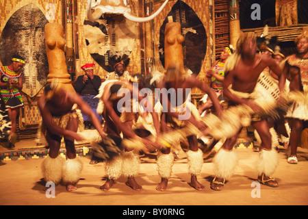 Dancers performing traditional Zulu dance, Shakaland, Eshowe, Zululand, KwaZulu-Natal, South Africa - Stock Photo