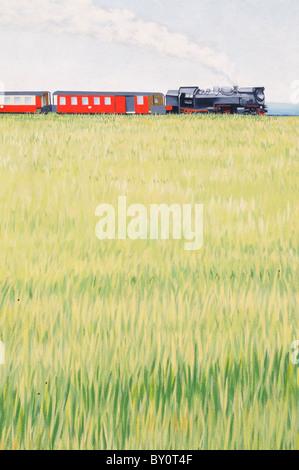 Wandmalerei an einer Hauswand; Motiv Dampflokomotive. - Mural painting on a house wall; motif steam locomotive. - Stock Photo