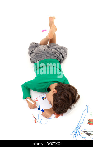 boy painting from above isolated on white - Stock Photo