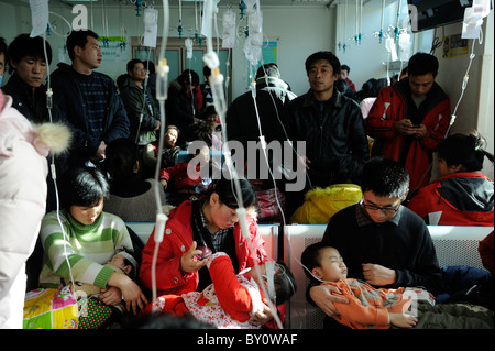 Chinese children receive transfusion at Children's Hospital in Beijing, China.12-Jan-2011 - Stock Photo