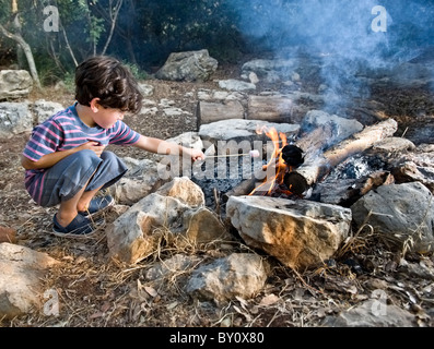 boy having marshmallow at the campfire - Stock Photo