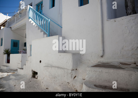 White painted walls of the residential house in Mykonos town. - Stock Photo