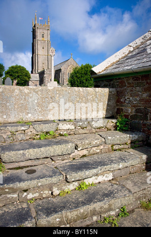 Church of St Nectan's at Stoke Barton near Hartland Clovelly and Bude in Devon approached over broad ancient steps - Stock Photo