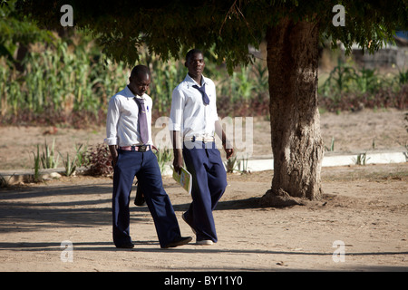MECEBURI NEAR NAMPULA, MOZAMBIQUE, May 2010:  Secondary school boys in  uniform.    Photo by Mike Goldwater - Stock Photo