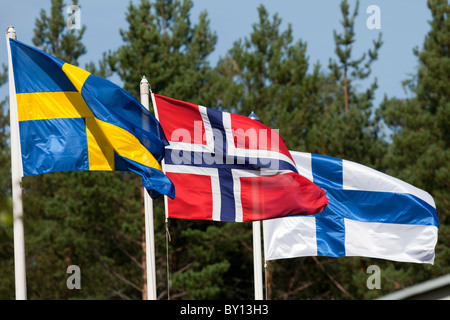 Scandinavian flags from left Sweden , Norway and Finland - Stock Photo