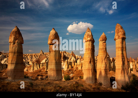 The 'Love Valley' in Cappadocia, famous for its rock formations in phallic shape, Anatolia, Turkey. - Stock Photo