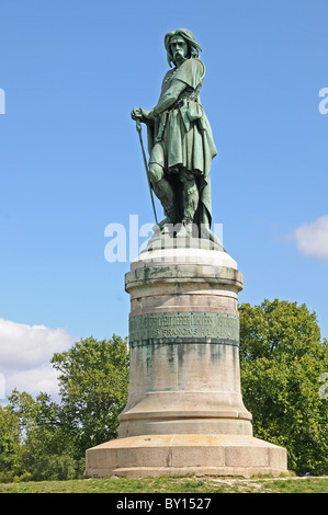 Monumental statue of Vercingetorix by Aime Millet on top of Mont Auxois above Alise-Sainte-Reine Cote d'Or Burgundy - Stock Photo