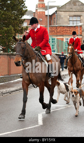 Boxing day Hunt meet at Market Bosworth, Leicestershire. Picture shows Huntsman sounding horn as he summons the - Stock Photo