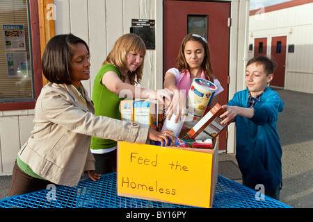 Project multi ethnic racial diversity diverse cultural Ethnically Middle school kids adult African American collect - Stock Photo