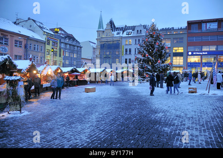 Mirove square with a Christmas market, Usti nad Labem, Czech Republic - Stock Photo