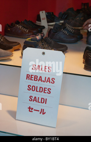 Wintry sales in January, discounts cartels Camper shoes display store in hight street center of Rome city Italy - Stock Photo