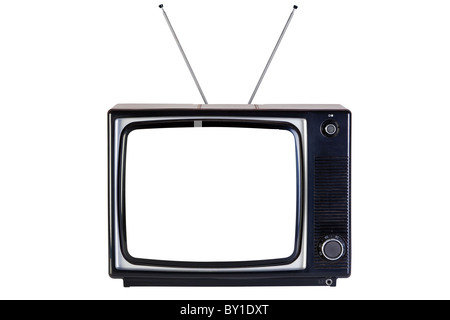 Old retro black and white tv set, isolated on a white background, with clipping paths for television and the blank - Stock Photo
