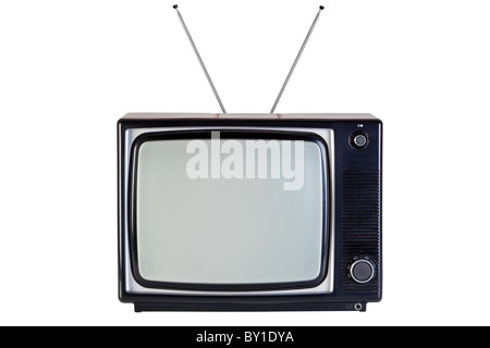 Photo of an old retro black and white tv set, isolated on a white background, with clipping paths for television - Stock Photo