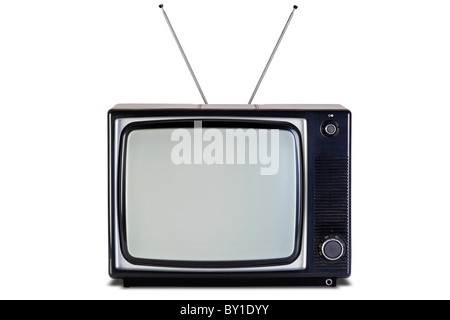Old retro black and white tv set, isolated on a white background, with clipping paths for television and the screen. - Stock Photo