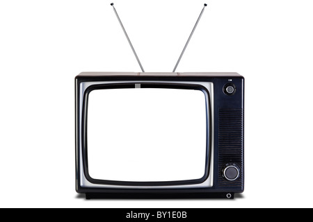 Old retro black and white tv set, blank screen,isolated on a white background with slight shadow, with clipping - Stock Photo