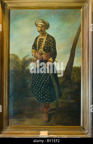 Painting of Tipu Sultan at 30 years of age by John Zoffany in 1780 inside the Daria Daulat Bagh in Srirangapatnam - Stock Photo
