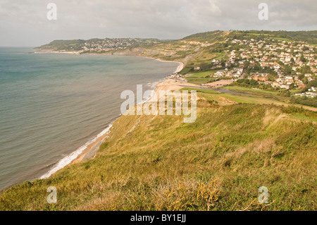 On the south west coast path, looking east to Charmouth - Stock Photo