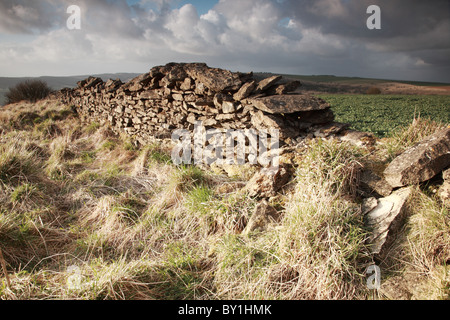Sunlit dry stone wall North York Moors, England - Stock Photo
