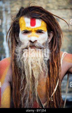 Asia, Nepal, Kathmandu, Kathmandu Valley, Sadhu at Hindu pilgrimage site Pashupatinath - Stock Photo