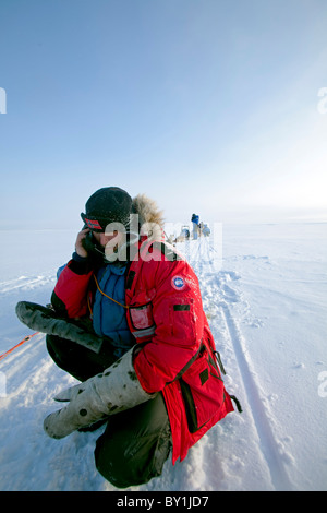 Norway, Finnmark Region. Dog sledding in the Arctic Circle - an explorer stops his husky team to make a phone call - Stock Photo