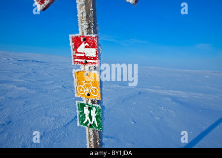 Norway, Finnmark Region. A sign post in the Arctic Circle - Stock Photo