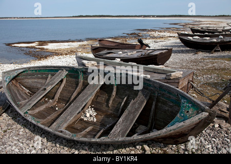 Sweden, Island of Gotland. Traditional wooden fishing ...