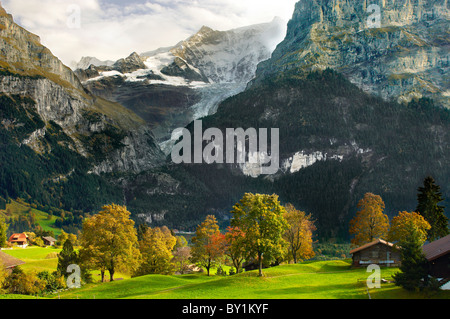 Swiss houses on high Alpine pastures - Grindelwald Switzerland - Stock Photo