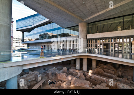 Ancient Athens revealed below the new Acropolis Museum, designed by architect Bernard Tschumi, Athens, Greece - Stock Photo