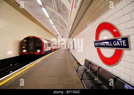 Notting Hill Gate Underground Tube Station Central Line Platform, London, England, UK - Stock Photo