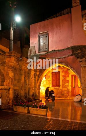 The Rimondi fountain, set in Rethymno's Venetian backstreets, Rethymno, Crete, Greece - Stock Photo