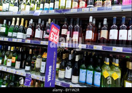 Bottles of wine on sale in a Co-op supermarket, UK - Stock Photo