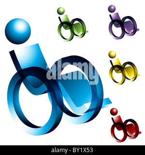 An image of 3d wheelchair icons. - Stock Photo