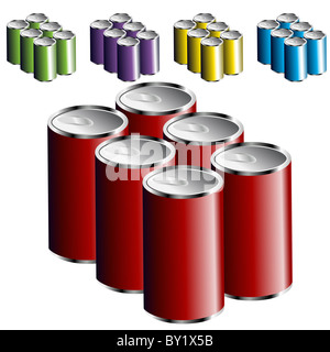 An image of a six pack of cans. - Stock Photo
