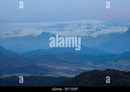 View of the Tres Sorores peaks in the National Park of Ordesa and Monte Perdido, Huesca, Spain - Stock Photo