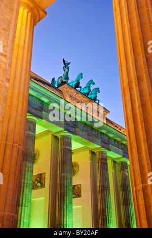 Germany,Berlin,Brandenburg Gate illuminated at dusk during the Festival of Lights